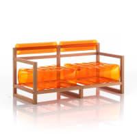 YOKO - Canapé 2 places pvc orange cristal cadre en bois