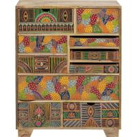 PARADISE - Commode 10 tiroirs en manguier massif motifs multicolores