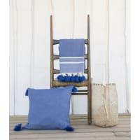 STOCKHOLM - Plaid en coton 130x170 Bleu grec
