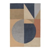 ESRE - ESRE - Tapis géométrique design en laine multicolore 120x170