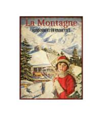RAQUETTES - Plaque décorative murale ski en métal 25x33