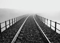 VINTAGE - Tableau métal urban rails 32x45