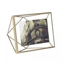 PRISMA - Cadre photo mural ou à poser en métal laiton doré 10x15