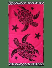 TURTLING - Serviette de plage éponge velours rose fuschia turtling  86 x 160