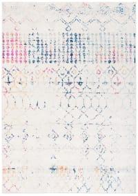 Tapis de salon bohème chic  ivoire et bleu 121x182
