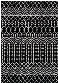 Tapis de salon bohème chic noir et ivoire 182x274