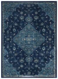 Tapis de salon d'inspiration vintage bleu marine et bleu canard 1...