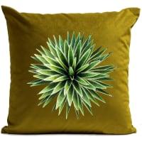 SERIES EDITION - Coussin velours carré imprimé floraux vert olive 40x40