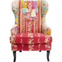 WING - Fauteuil bergère rouge patchwork