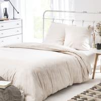 VIOLA - Parure de lit imprimée en satin de coton rose poudre 260x240