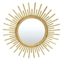 SUN - Miroir en rotin vernis naturel D55cm