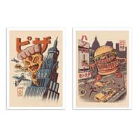 BURGERZILLA AND PIZZA KONG -  2 Affiches d'art 30 x 40 cm