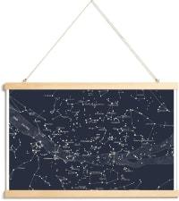CARTE DU CIEL I - Affiche avec baguettes de suspension en Bleu/40x60