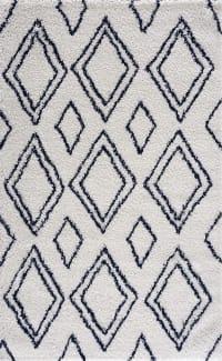 TERRA - Tapis shaggy salon en laine artificielle bleu roi 120X160