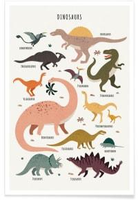DINOSAUR FRIENDS - Affiche en Multicolore/40x60