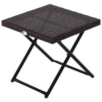 Table basse pliable de jardin résine tressée marron