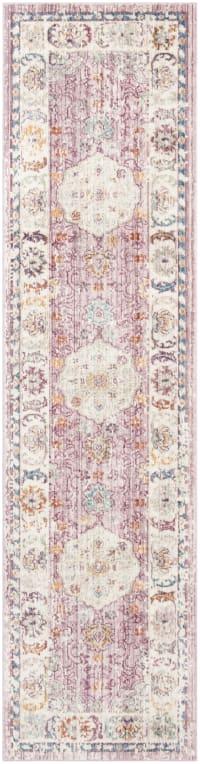 Tapis de couloir traditionnel rose et crème 62x240