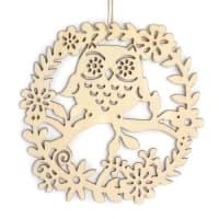HIBOU - Décor à suspendre en bois hibou 22x22cm