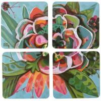 ALLEN - 4 sous verres en bois et liège blooms 10x10cm