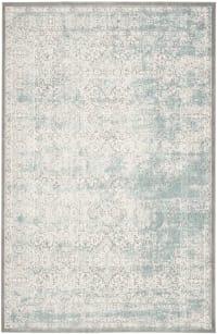 Tapis de salon intemporel chic turquoise et ivoire 160x230