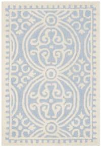 Tapis de salon médaillon bleu clair et ivoire 91x152