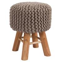 LISA - Tabouret tricot en coton taupe