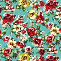 RITA - Toile de transat prête à poser imprimé fleuri turquoise