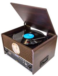 CHESTERTON - Platine vinyle station bluetooth audio 5 en 1 marron foncé