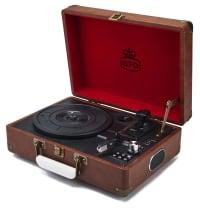 ATTACHE CASE - Platine vinyle portable avec port USB marron vintage