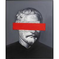 Toile noir philosophe bande rouge 80x100