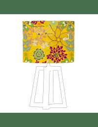 GICA - Abat-jour jaune imprimé vert d 80 cm