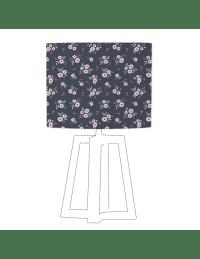 MICHELINE - Abat-jour vert imprimé rose d 60 cm