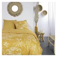 MAWIRA - Parure de lit zippée 2 personnes imprimé en Coton Jaune 240x220 cm