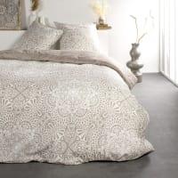 SUNSHINE - Parure de lit 2 personnes imprimé floral en Coton Beige 220x240 cm