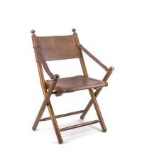 Chaise pliante en cuir marron