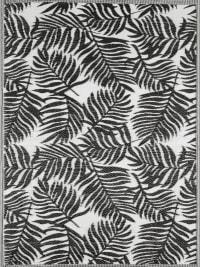 SCOOBI - Tapis extérieur motif palmier noir 120x160