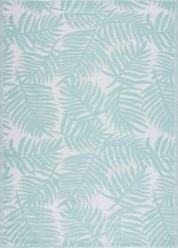 SCOOBI - Tapis extérieur motif palmier turquoise 150x220