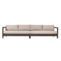 ZENIA - Canapé droit intérieur/extérieur en tissu beige structure en teck noir
