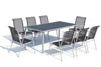 LUSIANA - Table de jardin et 8 chaises en acier et textilène gris