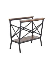 Porte-revues en métal noir et bois