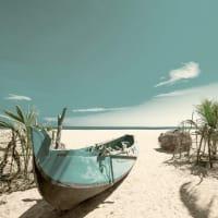 BATEAU - Tableau sur verre bateau dans les tropiques 30x30 cm