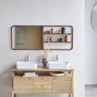 FELICIE - Etagère miroir en noyer et laiton