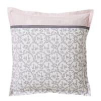 COMEDIE - Taie d'oreiller en coton rose et gris 63x63