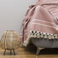 STOCKHOLM - Plaid en coton 130x170 Terracotta