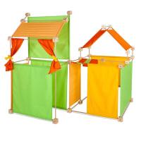 Jeu de construction géant bois tissu orange 150 pièces coffret bois