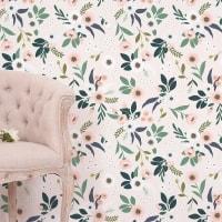 WONDERLAND - Papier peint floral en Papier Rose pâle