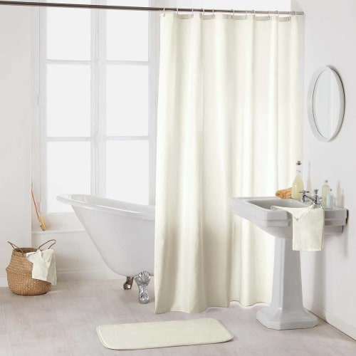 rideau de douche uni et coloree polyester naturel 200x180 maisons du monde