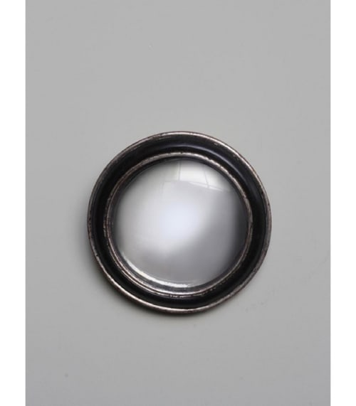 Miroir convexe fleur noir or 19cm