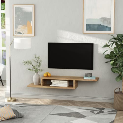 meuble tv mural flottant design panneaux particules chene clair maisons du monde